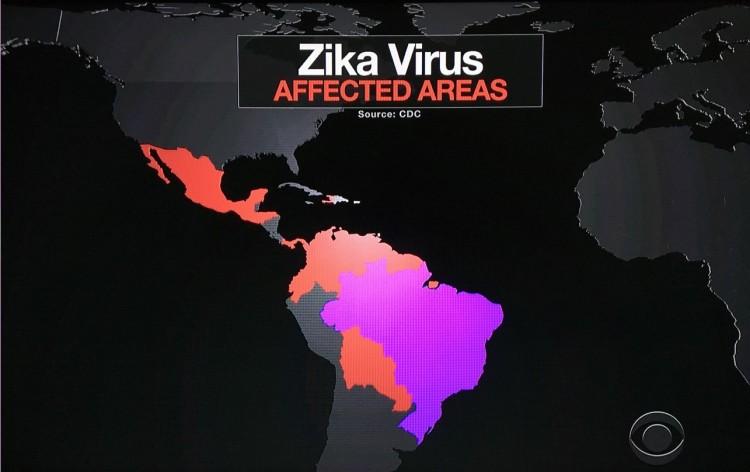 """Noticiário """"CBS Evening News"""" destacou o mapa do Brasil em cor-de-rosa como o país que tem """"um milhão de casos do zika"""". (Foto: Reprodução)"""