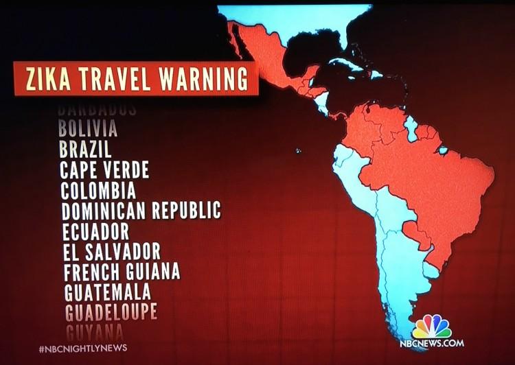 """Telejornal """"NBC Nightly News"""" mostrou a relação dos países e territórios internacionais afetados pelo vírus zika. (Foto: Reprodução)"""