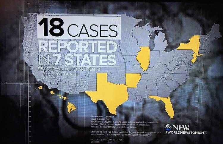 """O """"ABC World News"""" mostrou mapa com todos os sete estados americanos com casos oficiais do vírus zika. """"Todos casos de mulheres grávidas infectadas enquanto em viagens fora do país"""" (Foto: Reprodução)"""