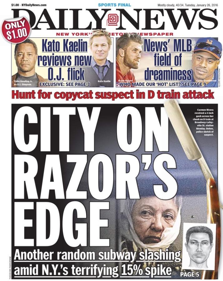 """Primeira página do jornal """"Daily News"""" de terça, 26, sobre o ataque da costureira. (Foto: Reprodução)"""