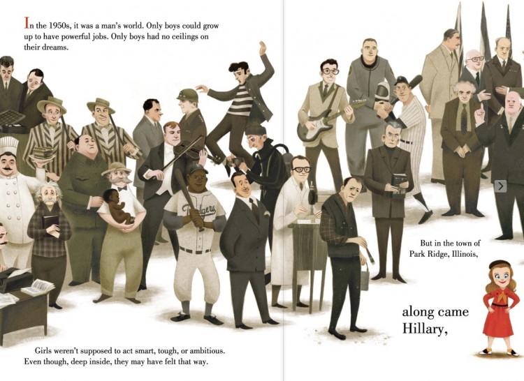 Hillary, na década de 50, com 8 anos de idade, ao lado de Elvis Presley, Mao Tsé-tung, Dwight Eisenhower, Buddy Holly e Albert Einstein, entre outros. (Foto: Reprodução)