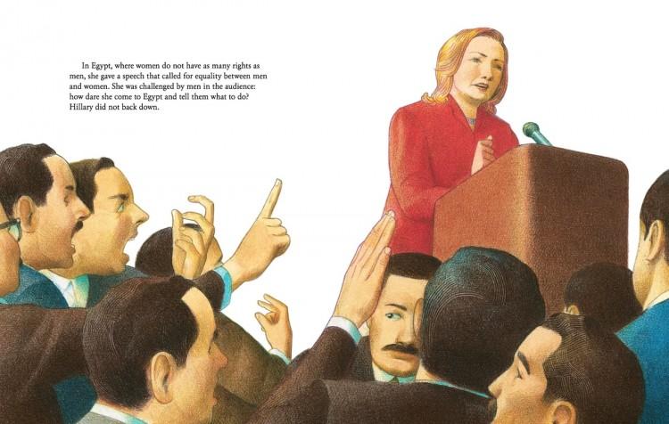 """Em ilustração do livro """"Hillary"""": no Egito, discursando sobre direitos das mulheres. (Foto: Reprodução)"""