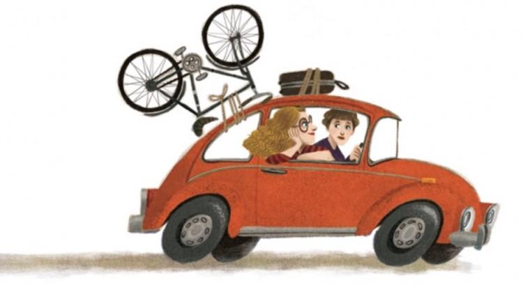 """Meu carro é vermelho. No Fusca de mudança para Washington D.C., ilustração do livro """"Hillary Rodham Clinton"""" (Foto: Reproducão)"""