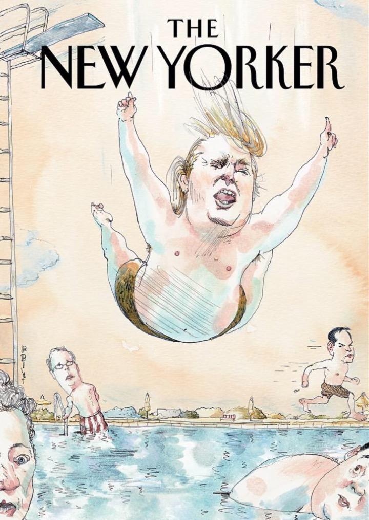 """Mergulhando de barriga na campanha do Partido Republicano foi o tema da capa da """"The New Yorker"""" em julho de 2015"""