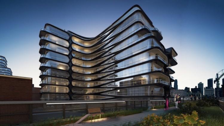 Foto do projeto do prédio residencial de Hadid, também visto do parque High Line. (Foto: Divulgação)