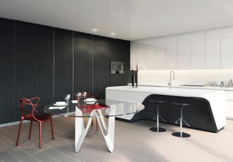 Projeto da cozinha com móveis criados por Hadid em parceria com o designer italiano Boffi. (Foto: Divulgação)