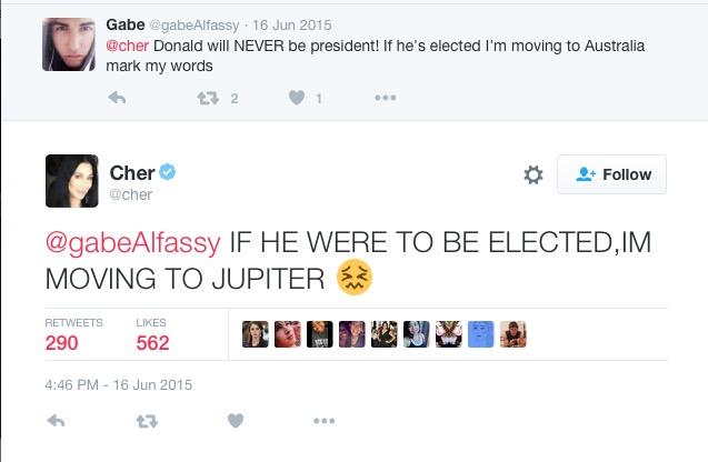 Respota de Cher no Twitter para um fã. (Foto: Reprodução)