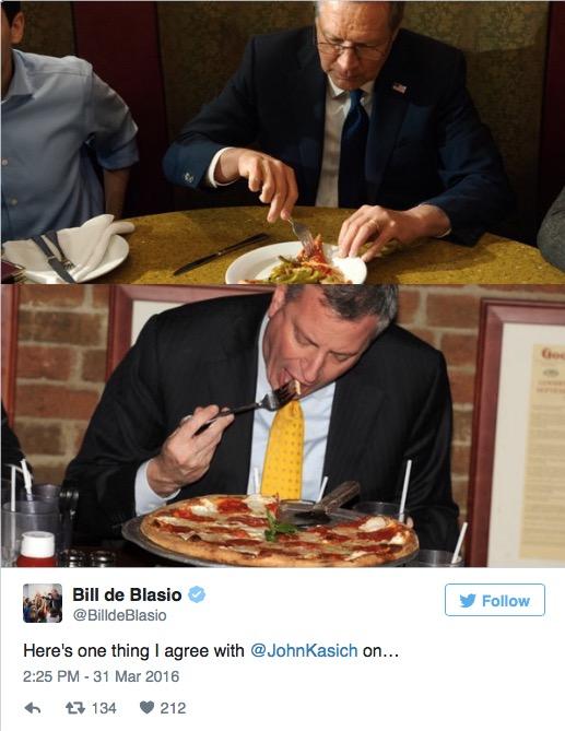 O prefeito de Nova York Bill de Blasio tuíta sobre a gafe de John Kasich. (Foto: Reprodução)