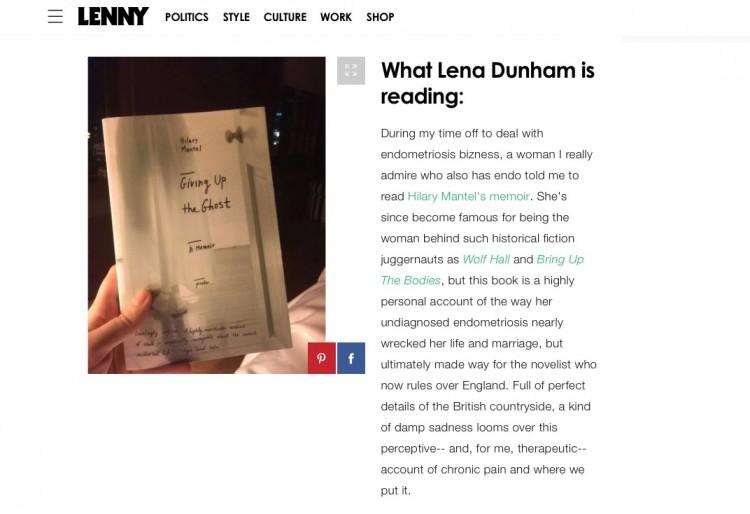 Em sua newsletter Lenny Letter, a atriz Lena Dunham indica seus livros favoritos como Giving up the Ghosts, da inglesa Hilary Mantel (Foto: Reprodução)
