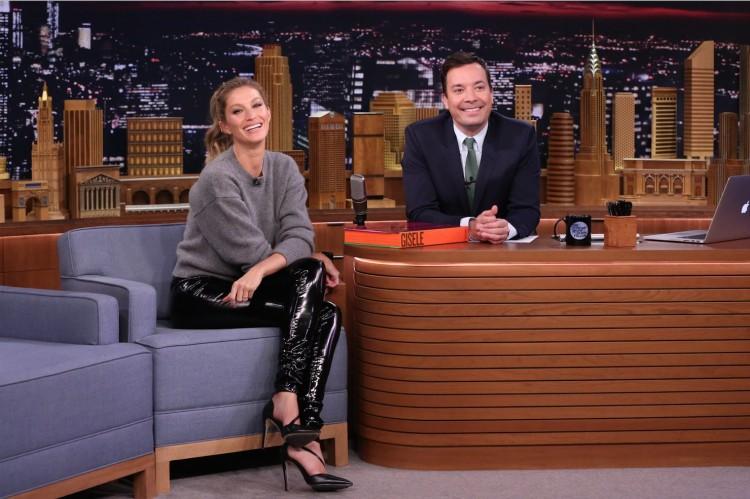 Gisele Bündchen no programa de Jimmy Fallon na quarta à noite. (Foto: Andrew Lipovsky/NBC)
