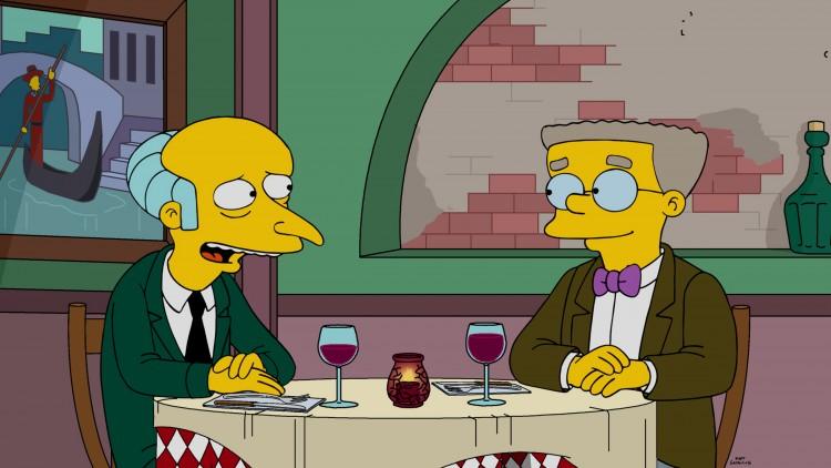 """O vilão C. Burns e o subalterno gay Smitheren em cena do episódio de domingo (3) do """"The Simpsons"""". (Foto:"""