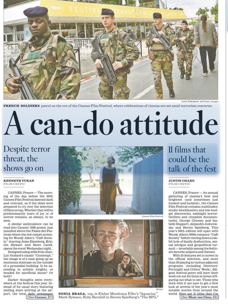 """Em reportagem do Los Angeles Times de quarta (11), jornal destaca filmes """"Aquarius"""", de Kléber Mendonça Filho, e """"The BFG"""", de Steven Spielberg, como atrações esperadas em Cannes. (Foto: Reprodução)"""