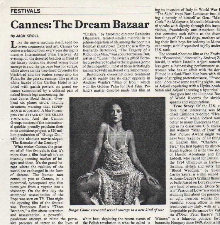 """O artigo """"balanço do Festival de 1981"""" escrito por Jack Kroll da Newsweek e que ajudou abrir as portas de Hollywood para Sonia. (Foto: Reprodução)"""