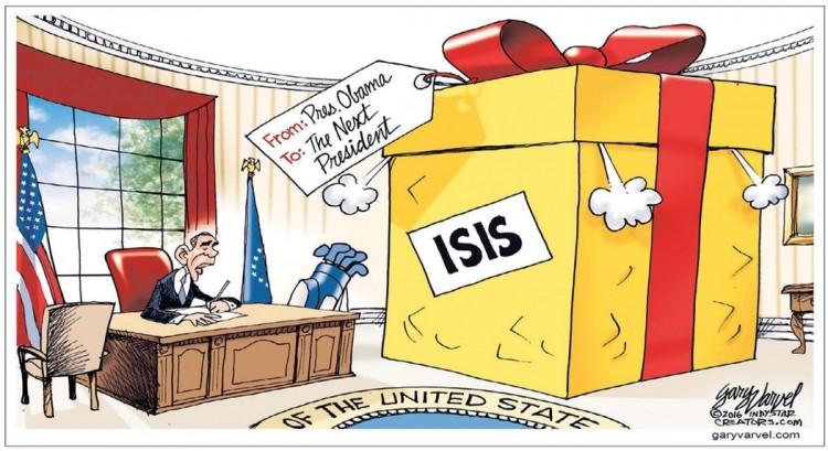 De: Presidente Barack Obama; Para: O próximo presidente. Charge de Gary Varvel. (Foto: Reprodução)