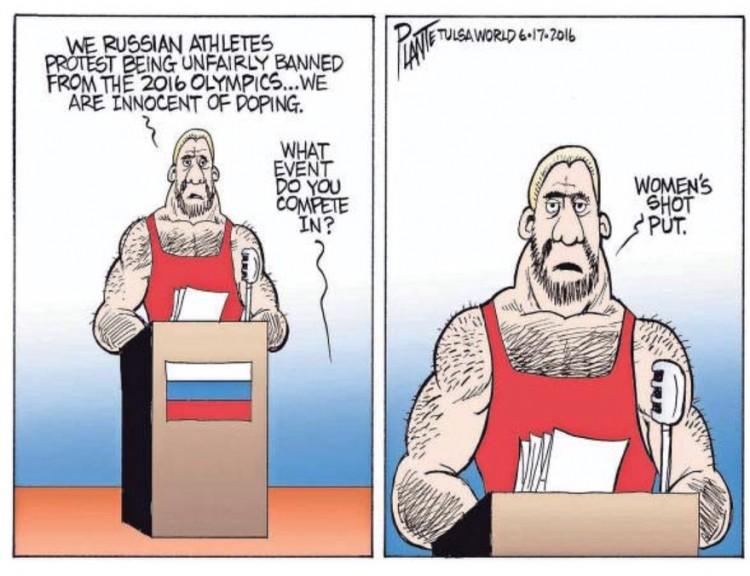 """"""" - Nós atletas russos protestamos por sermos injustamente barrados das Olímpiadas...Nós somos inocentes em relacão ao doping"""".  """"- Qual evento você compete?"""" """"- Aremesso de peso feminino"""". Charge de Plante. (Foto: Reprodução)"""