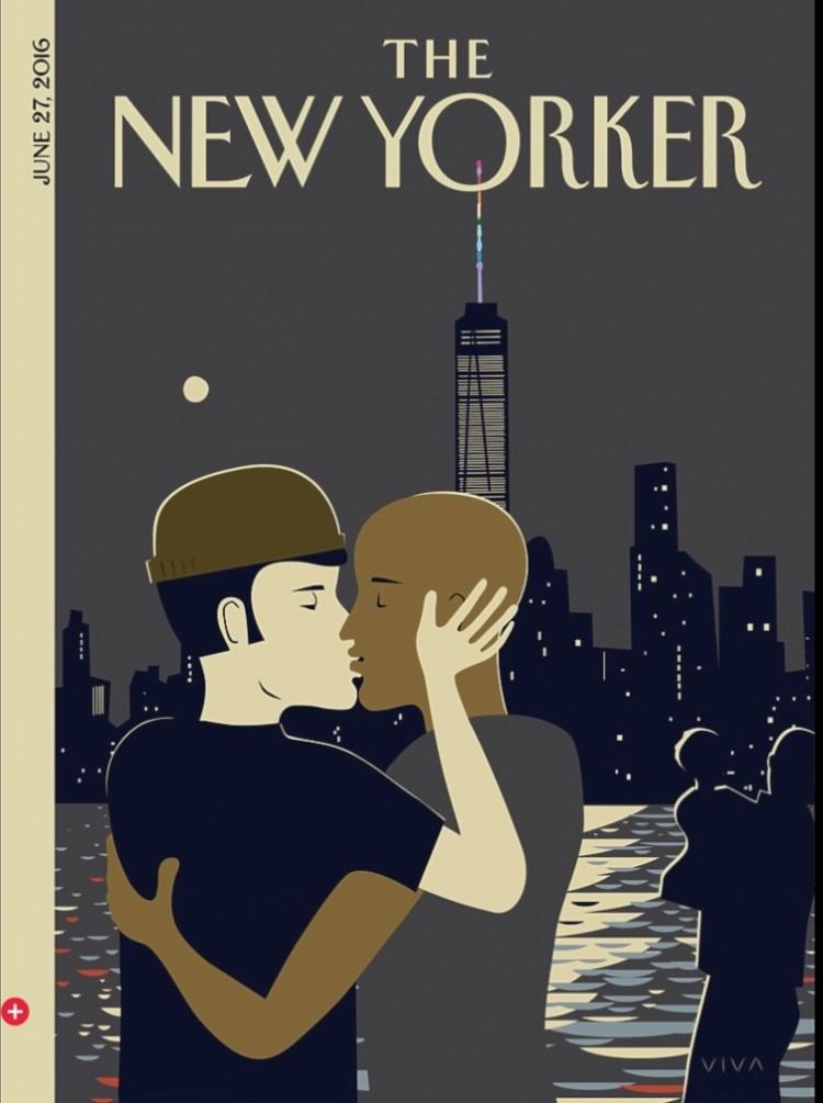 """Capa """"Love"""" do ilustrador e autor de livros infantis Frank Viva. Casal gay se beija na frente do prédio One World Trade Center com antena iluminada com as cores LGBT. (Foto: Reprodução)"""