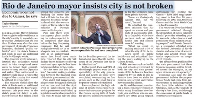 Jornal USA Today repercute entrevista com prefeito do Rio de Janeiro. (Foto: Reprodução)