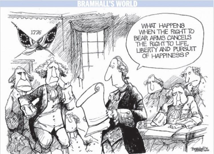 """""""O que acontece quando o direito de ter armas anula o direito a vida, liberdade e da busca da felicidade?"""" Charge de Bramhall para o jornal Daily News. (Foto: Reprodução)"""