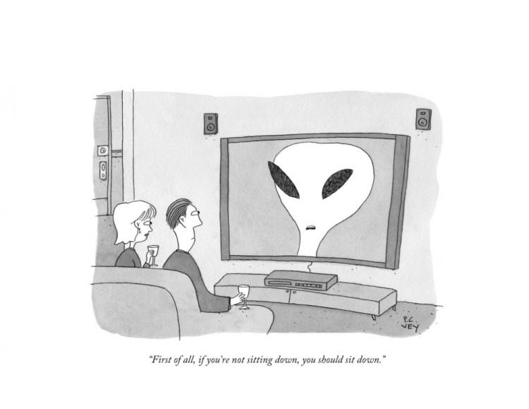 """""""Em primeiro lugar, se vocês não estiverem sentados, é melhor se sentarem"""". Ilustração de P.C.. Vey para a revista The New Yorker. (Foto: Reprodução)"""