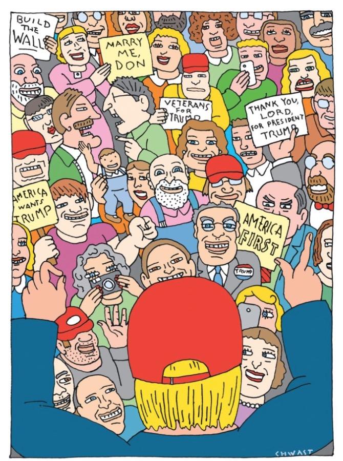 """""""Construa o muro""""; """"Case comigo, Don""""; """"Soldados veteranos apoiam Trump""""; """"Obrigado, Senhor, pelo presidente Trump""""; """"Os EUA querem Trump""""; """"América em primeiro lugar"""". Ilustração de Seymour Chwast para a revista The New Yorker. (Foto: Reprodução)"""