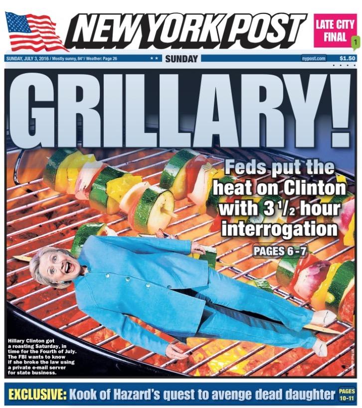 """Manchete do jornal conservador The New York Post fez um espetinho de Hillary Clinton e trocadinho com o nome da pré-candidata democrata à Casa Branca com """"grelhada"""". Foto: Reprodução)"""