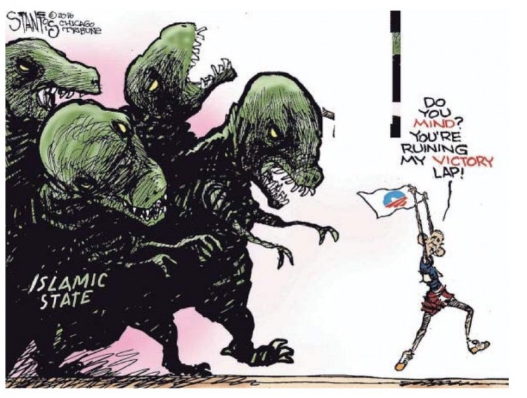 """Obama: """"Vocês se incomodam? Estou dando minha volta da vitória"""". Charge de Stantos para o jornal Chicago Tribune. (Foto:  Reprodução)"""