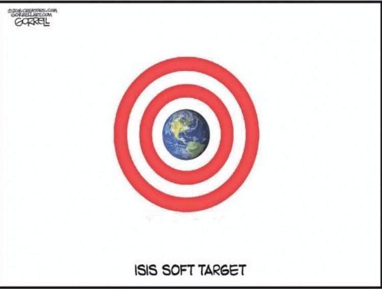 """""""O alvo fácil do Estado Islâmico"""". Charge de Gorrel para o jornal The New York Post. (Foto: Reprodução)"""