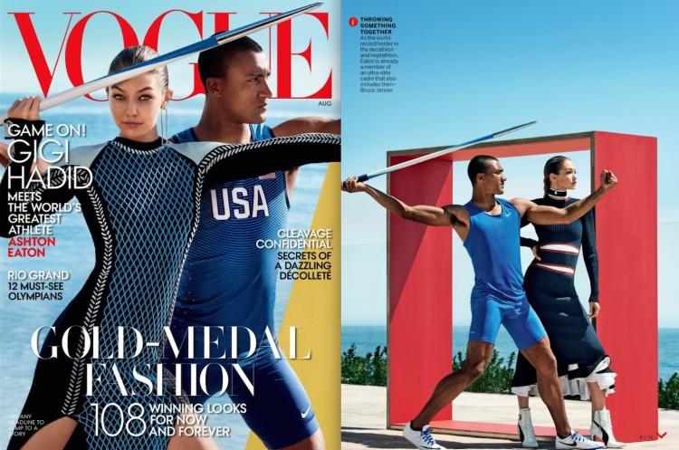 A modelo Gigi Hadid, filha do decatleta transgênero Caytlin Jenner posa ao lado da nova esperança para a modalidade, o atleta Ashton Eaton. (Foto: Mario Testino/Vogue)