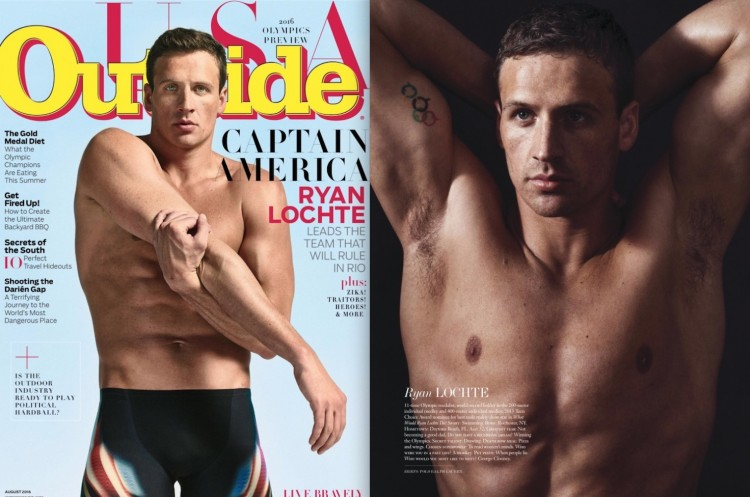 O nadador americano Ryan Lochte na capa da revista Outside e em ensaio na revista Interview. (Fotos: Peter Hapak/Outside; Sebastian Kim/Interview)