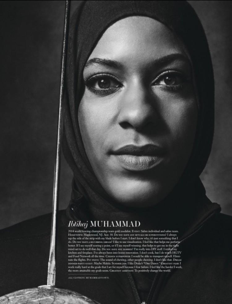 A esgrimista americana de origem muçulmana Ibtihaj Muhammad na revista Interview (Foto: Sebastian Kim)