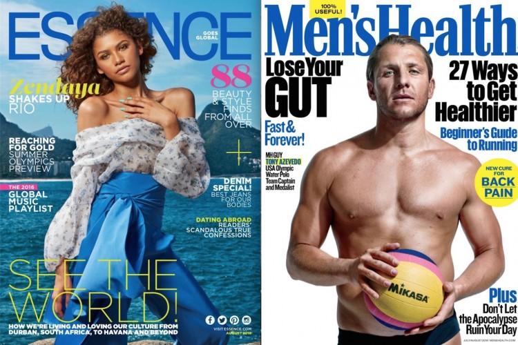 A cantora Zendaya em ensaio de moda da revista Essence feito no Rio e o jogador de pólo aquático, capitão da equipe americana, Tony Azevedo na capa da Men's Health. (Fotos: Warwick Saint/Essence; Peter Hapak/Men's Health)