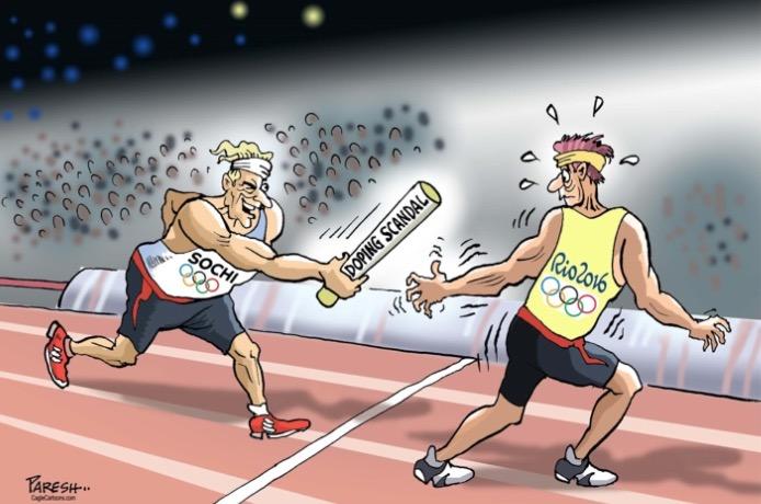Escândalo do doping dos atletas russos em charge de Paresh. (Foto: Reprodução)