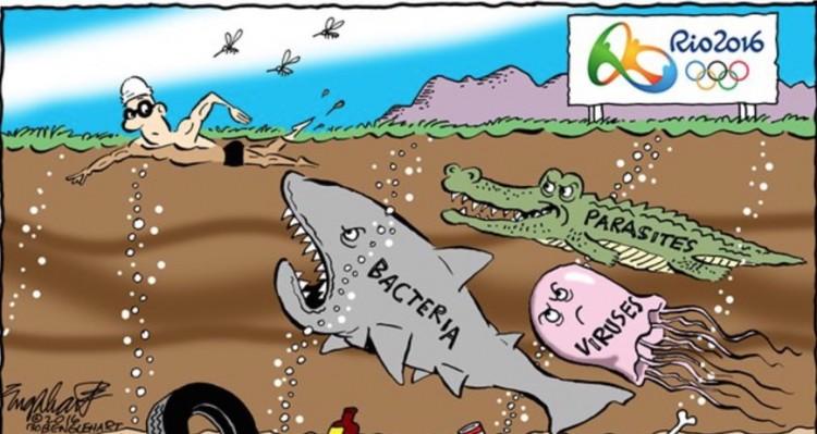 Águas do Rio infestadas de bactérias, vírus e parasitas em charge de Bob Englehart. (Foto: Reprodução)