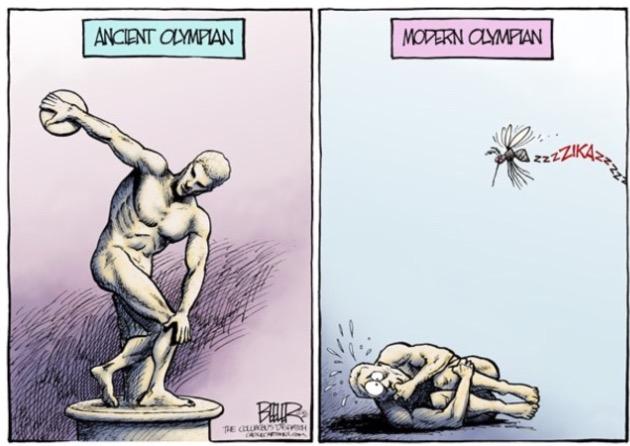 Estátua de atleta olímpico antigo contra o moderno em charge de Nate Beeler para o jornal The Columbus Dispatch. (Foto: Reprodução)