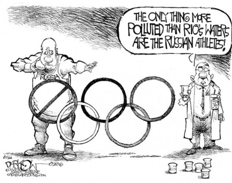 """""""A única coisa mais poluída que as águas do Rio é a delegação russa"""". Charge de John Darkow para o jornal Columbia Daily Tribune, do estado do Missouri. (Foto: Reprodução)"""