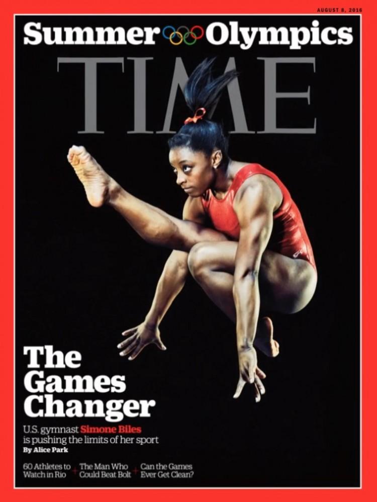 A ginasta americama Simone Biles, 19, na capa da Time. (Foto: Reprodução)