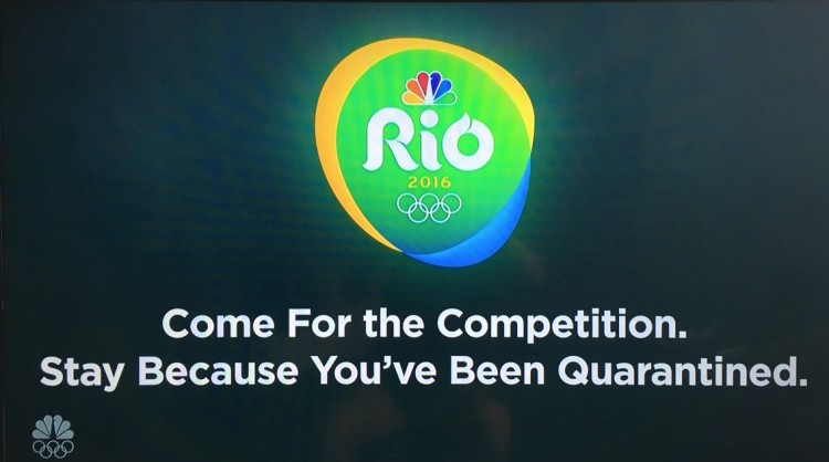 """Jimmy Fallon, do """"The Tonight Show"""", da rede NBC, revela o slogan """"descartado"""" da Rio-2016. """"Venham para competição. Fiquem porque vocês estão em quarentena"""". (Foto: Reprodução)"""