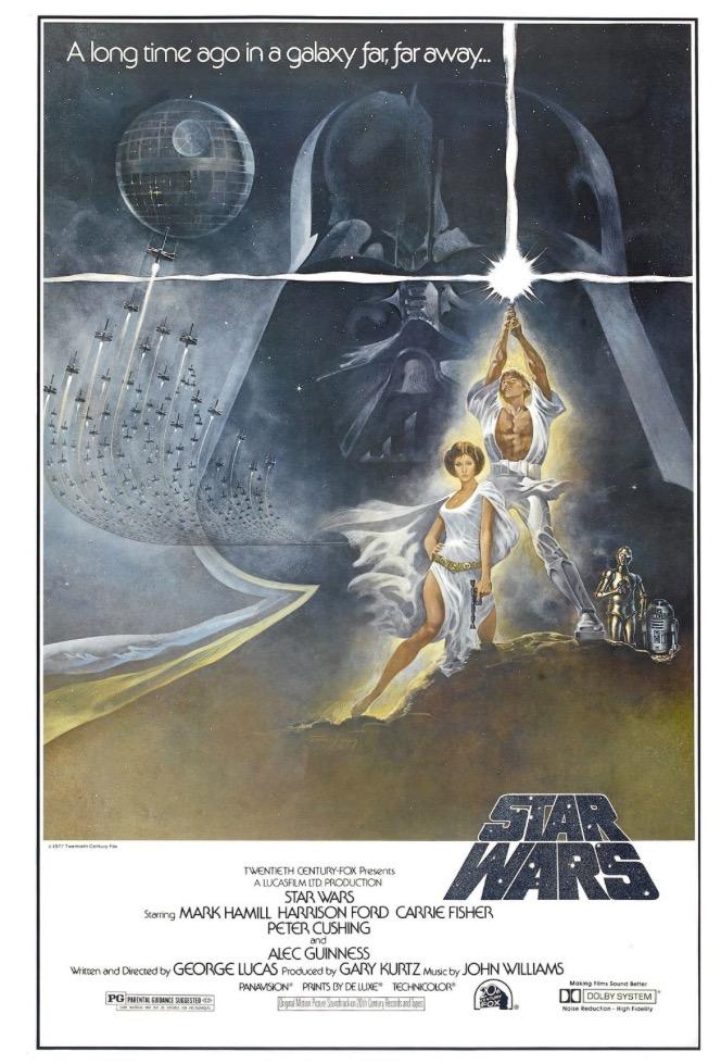 """O pôster original de """"Star Wars"""", de 1977, criado pelo diretor de arte Tom Jung. (Foto: Reprodução)"""