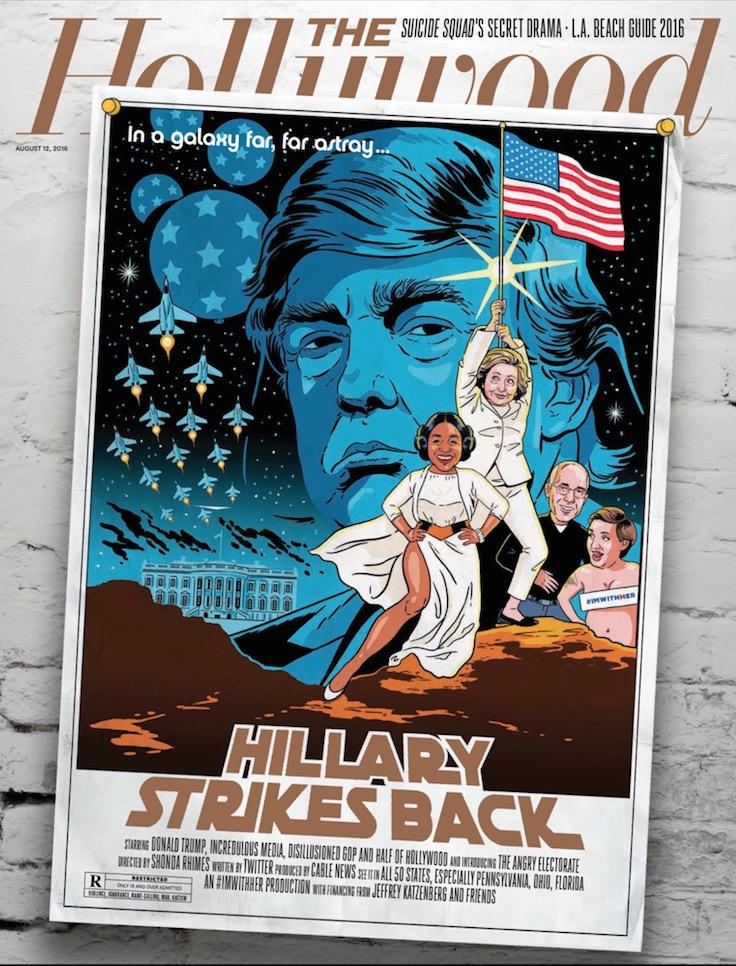 A ilustração de Kyle Hilton para a revista The Hollywood Reporter ainda tem Shonda Rhymes com a Princesa Leia, o produtor Jeffrey Katzenberg como c-3PO e a atriz Lena Dunham como R2-D2. (Foto: Reprodução)
