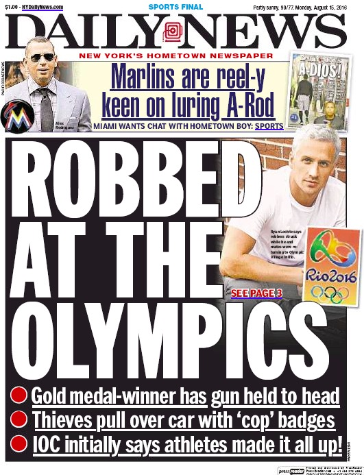 """""""Roubado nas Olimpíadas"""", diz a manchete do Daily News. (Foto: Reprodução)"""