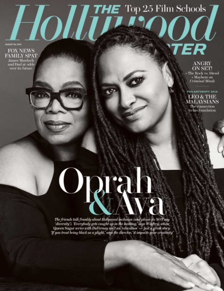 A produtora Oprah Winfrey e a cineasta Ava DuVernay na capa da revista The Hollywood Reporter de agosto. (Foto: Reprodução)