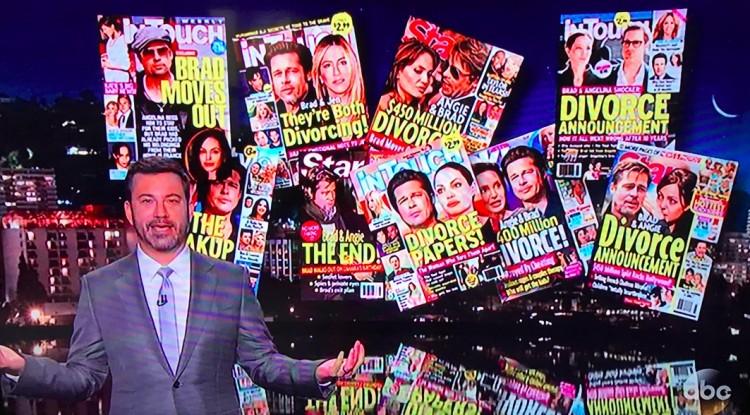 Jimmy Kimmel disse que os tablóides finalmente acertaram, depois de 11 anos de tentativa, sobre a separação. (Foto: Reprodução)