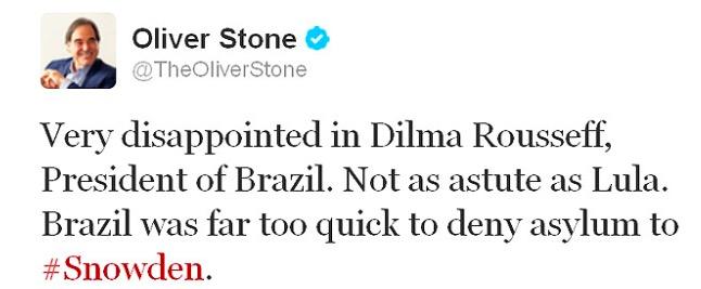 Oliver Stone criticou Dilma por negar asilo à Snowden. (Foto: Reprodução/Twitter/@theoliverstone)