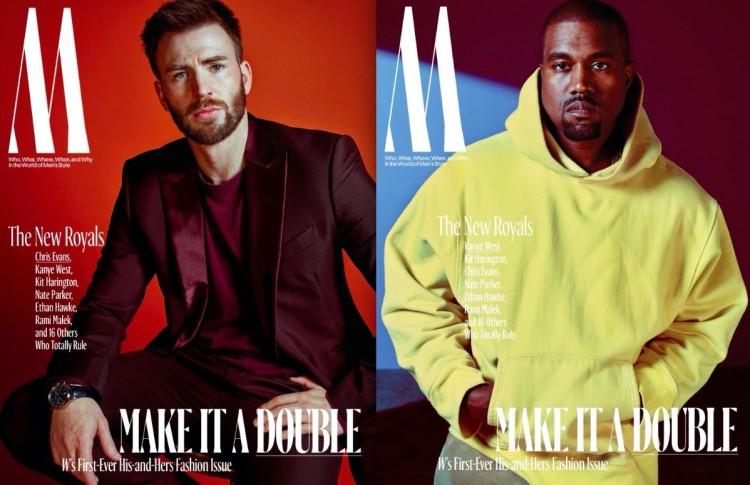 O ator Chris Evans e o músico Kanye West (Foto: Mario Sorrenti/W)