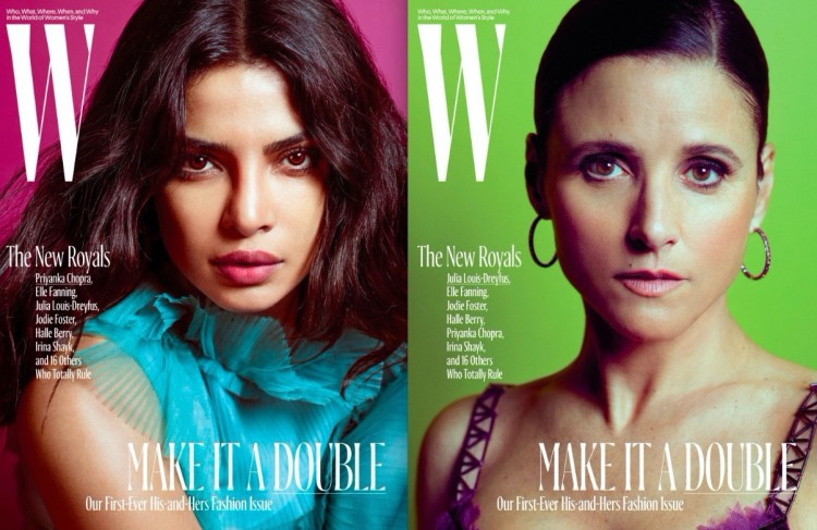 "As atrizes de TV Priyanka Chopra (""Quantico"") e Julia Louis-Dreyfuss (""Veep"") (Foto: Mario Sorrenti/W)"