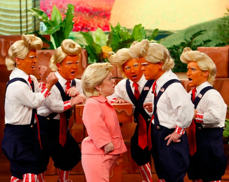 "Troompa Loompas encontram Hillary Clinton no ""Jimmy Kimmel Live!"" (Foto: Randy Holmes/ABC)"
