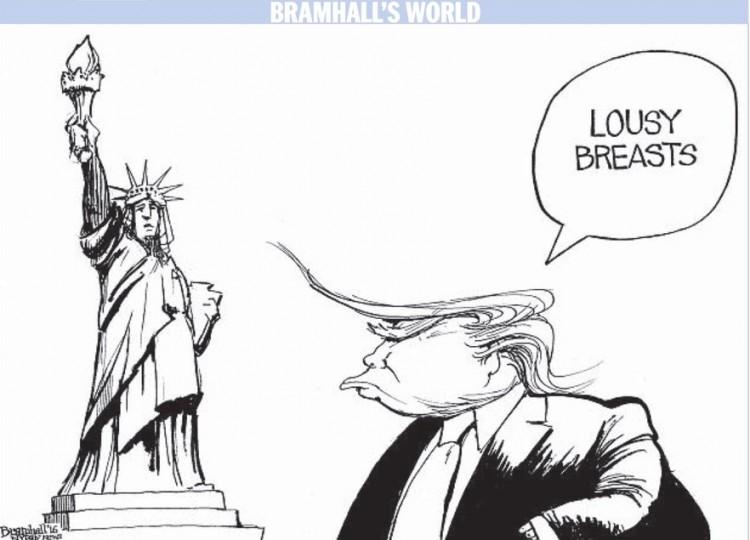 """""""Peitos péssimos"""", charge de Bramhall para o """"Daily News"""". (Foto: Reprodução)"""