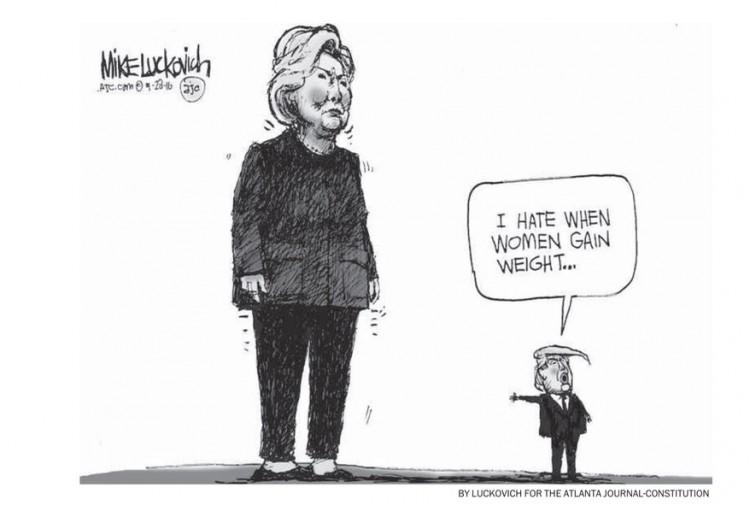"""""""Odeio quando mulheres ganham peso"""", de Mike Luckovich para o """"The Atlanta Journal-Constitution"""". (Foto' Reprodução)"""