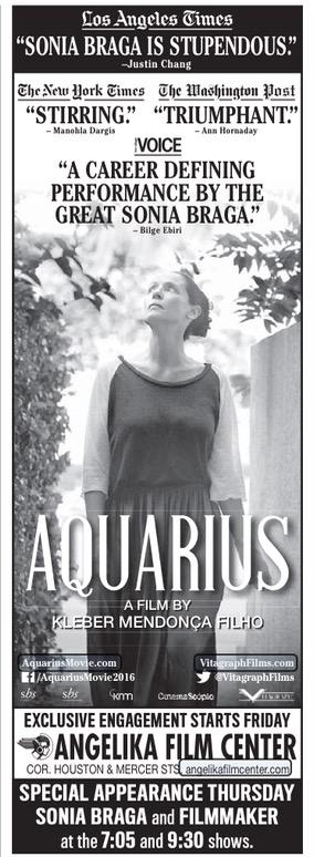 """Anúncio do filme """"Aquarius"""", que estreia oficialmente sexta (14) nos EUA, publicado hoje no jornal """"The New York Times"""". (Foto: Reprodução)"""