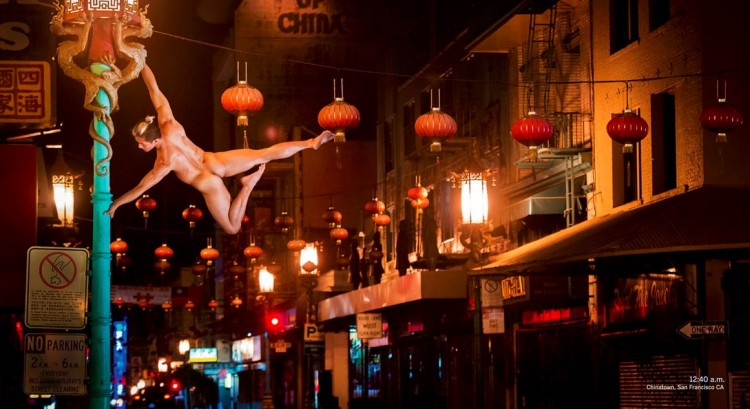 Acrobacia no bairro de Chinatown, em São Francisco. (Foto: Reprodução)
